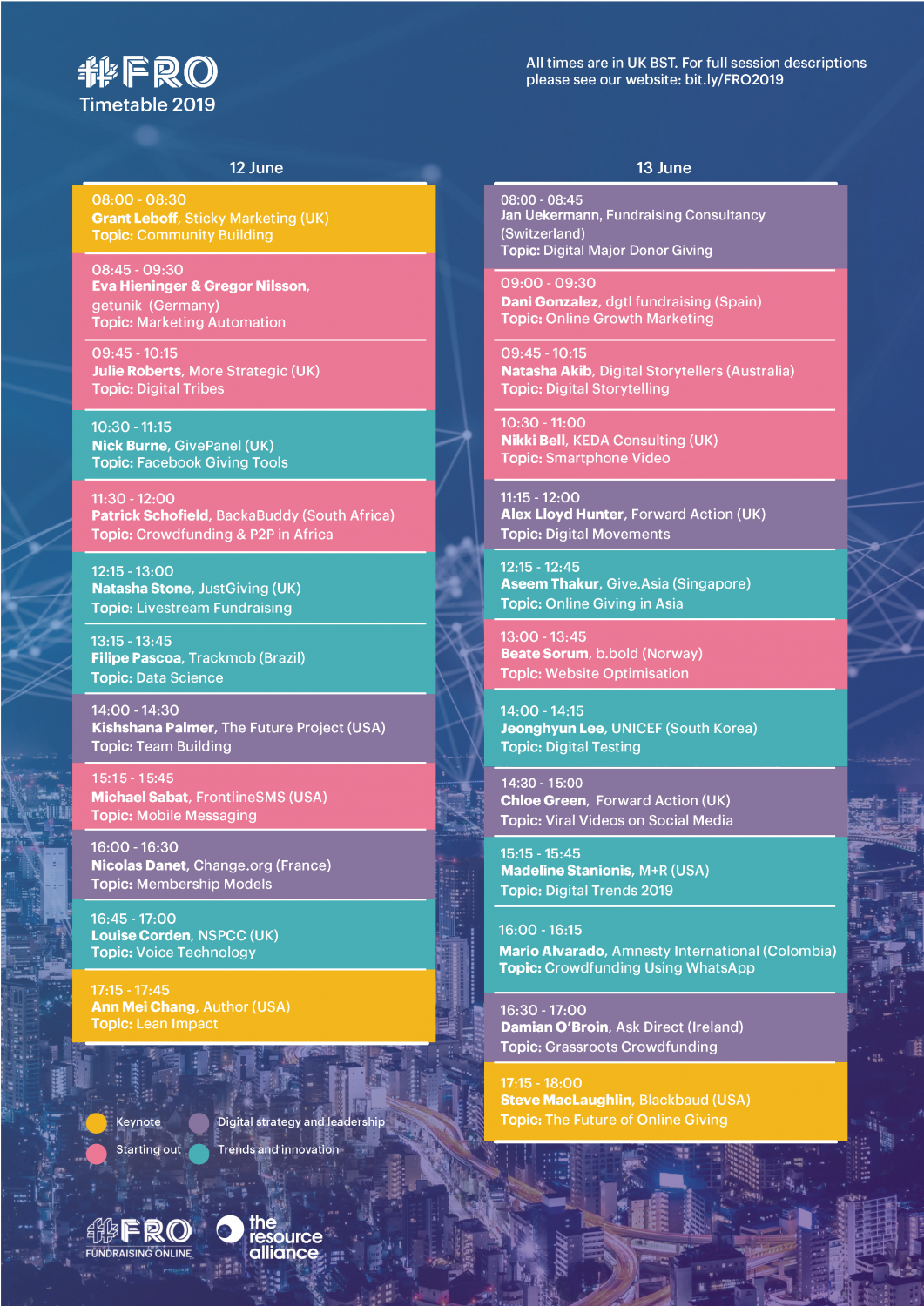 FRO 2019 Timetable