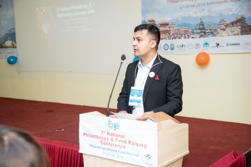Rewati addressing during opening ceremony of a fundraising conference.